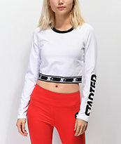 Starter Fitted Crop White Long Sleeve T-Shirt