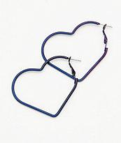 "Stone + Locket 2"" Iridescent Heart Hoop Earrings"