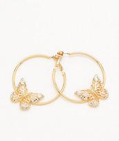 Stone + Locket Butterfly Hoop Earrings