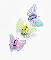 Stone + Locket Pastel Butterfly Clip Set