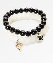 Stone + Locket Pizza & Alien Beaded Bracelet 2 Pack
