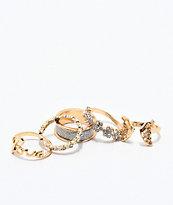 Stone + Locket paquete de 5 anillos de mariposa