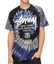 Stussy World Tour Swirl Purple & White Tie Dye T-Shirt