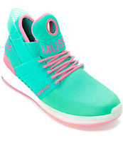 Supra Skytop V zapatos de skate en blanco, verde azulado y rosa