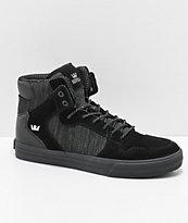 Supra Vaider Black & Charcoal Reflective Suede & Canvas Skate Shoes