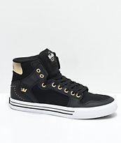 Supra x Modelo Vaider Negra Black, Gold & White Skate Shoes