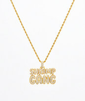 Supreme Patty x The Gold Gods Shrimp Gang Script cadena con colgante