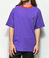 Teddy Fresh Embroidered Purple Ringer T-Shirt