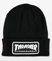 Thrasher Black Logo Patch Beanie