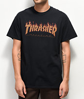 Thrasher Flame Black Halftone T-Shirt
