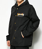 Thrasher Flame Magazine Black Hooded Coaches Jacket