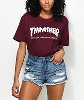Thrasher Skate Mag Burgundy Boyfriend Fit T-Shirt