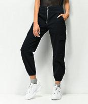 Tinseltown Black Zip Front Cargo Pants