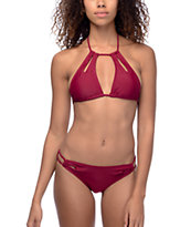 Trillium Keyhole Side bottom de bikini en color borgoño