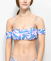 Trillium Sage Palm Off The Shoulder Bikini Top