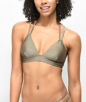 Trillium Shimmer Taupe Triangle Bralette Bikini Top