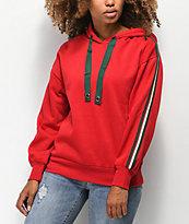 Trillium sudadera con capucha roja con cinta de rayas