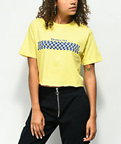 Valley High Checkered Out Yellow Crop T-Shirt