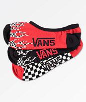 Vans 3 Pack Flame Checkerboard No Show Socks