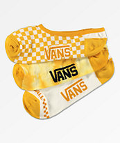 Vans 3 Pack Yellow Check No Show Socks