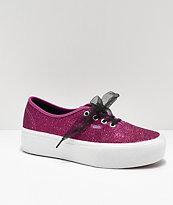 Vans Authentic Glitter Pink Platform Shoes