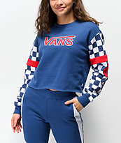 Vans BMX Red White & Blue Crop Crewneck Sweatshirt