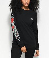 Vans Checkered Rose camiseta negra de manga larga