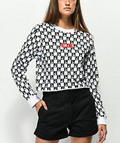 Vans Cherry camiseta corta de manga larga a cuadros en negro y blanco