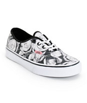 Vans Girls Authentic Digi Roses Black & White Shoe