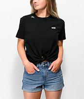Vans Lizzie camiseta anudada en negro y blanco