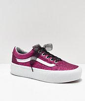 Vans Old Skool Glitter Pink Platform Shoes