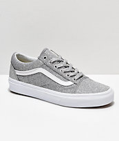 Vans Old Skool Silver & White Glitter Skate Shoes