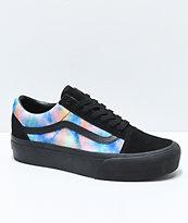 Vans Old Skool zapatos de skate con plataforma de terciopelo negro y efecto tie dye