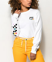 Vans Party Checkerboard White Long Sleeve T-Shirt
