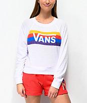 Vans Rainbow Whisper sudadera blanca con cuello redondo