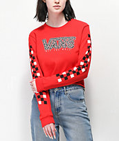 Vans Red Mix Checkerboard camiseta de manga larga roja