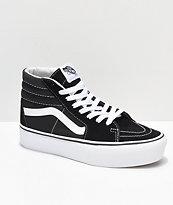 Vans Sk8-Hi Black & White Platform Shoes