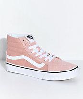 Vans Sk8-Hi Mahogany Rose zapatos de skate en rosa y blanco