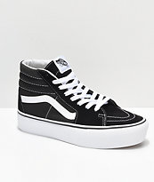 Vans Sk8-Hi Platform Black & White Skate Shoes