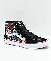 Vans Sk8-Hi Pro Lizzie Floral Black & White Skate Shoes