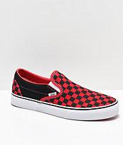 Vans Slip-On Black & Formula Red Checkerboard Skate Shoes