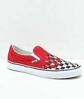 Vans Slip-On Checkerboard Flame zapatos de skate en rojo y blanco