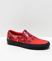 Vans Slip-On Festival Satin Red Skate Shoes