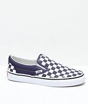 Vans Slip-On Nightshade Purple Checkered Skate Shoes