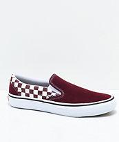 Vans Slip-On Pro Port Royal zapatos de skate a cuadros en rojo y blanco