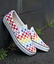 Vans Slip-On Pro Rainbow Checkerboard Skate Shoes