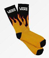 Vans calcetines negros de llamas