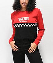 Vans camiseta corta de manga larga roja y negra