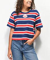 Vans camiseta corta de rayas rojas, blancas y azules