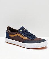 Vans x Independent Crockett 2 Dress Blue, Brown & White Skate Shoes